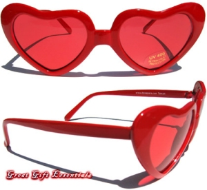 Sunglasses With Red Lenses  retro 80s red heart shaped lens sunglasses glasses lenses