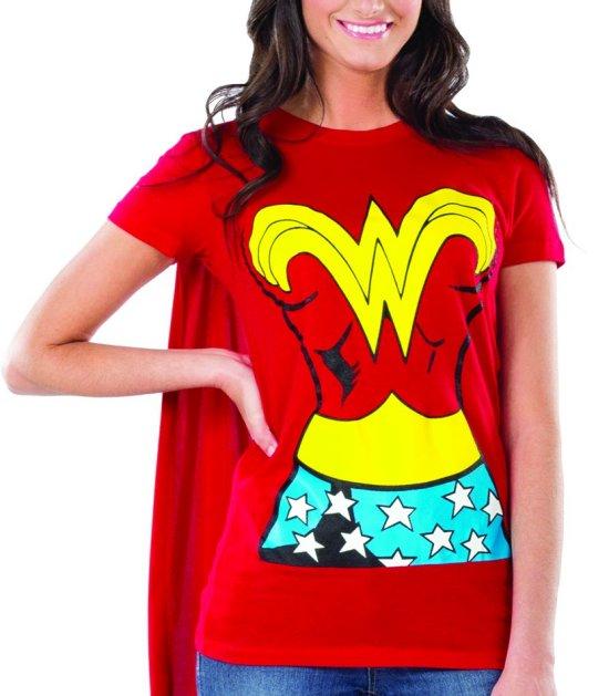Wonder woman graphic t shirt w cape l large womens adult costume